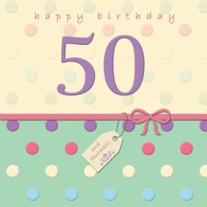 Age 50 Happy Birthday Card With Swarovski Crystal - Dotty Days TW696